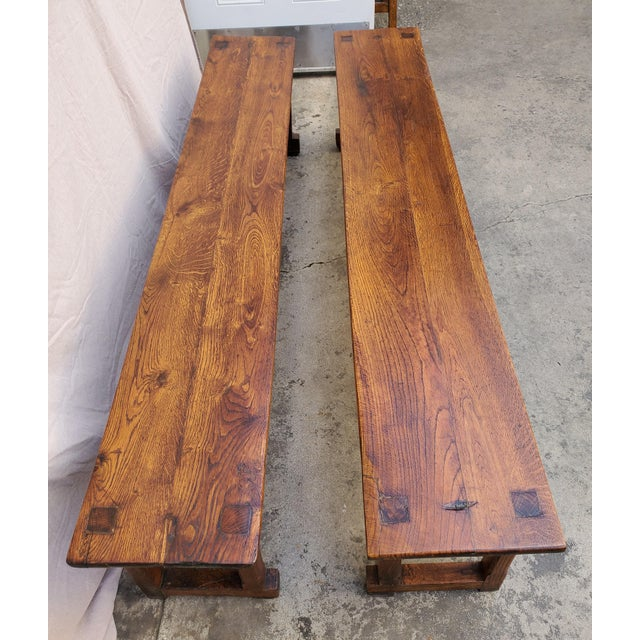 Antique Plank Solid Oak Refectory Dining Table With a Pair of Monastery Benches - 3 Pieces For Sale In Los Angeles - Image 6 of 13