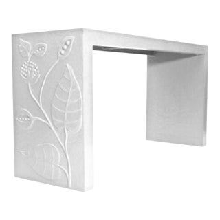 White Papier-Mâché Floral Console Table For Sale