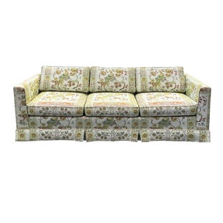 Vintage Asian-Inspired Chinoiserie Upholstered Sofa
