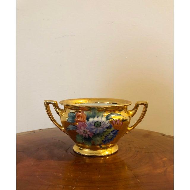 Gilded hand painted Noritake sugar bowl. No lid.