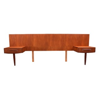 "Vintage Mid-Century Modern G Plan ""Fresco"" Headboard with Nightstands"
