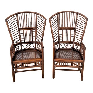 Palm Beach Style High Back Bamboo Brighton Style Chairs - Set of 2 For Sale