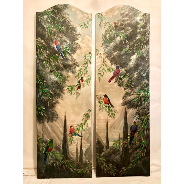 Italian Birds in the Forest Watercolor Painted Panels - Set of 2 For Sale - Image 13 of 13