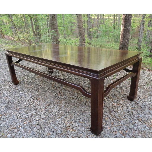 Asian Mid Century Quartersawn Oak Chinoiserie Coffee Table For Sale - Image 3 of 13