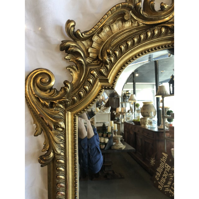 19th Century Antique French Louis XV Gilt Mirror For Sale - Image 4 of 10
