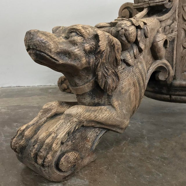 Gray 19th Century French Renaissance Stripped Oak Center Table With Hunting Dogs For Sale - Image 8 of 13