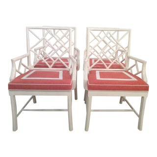 Vintage Palm Beach Cockpen Lacquered Arm Dining Chairs - Set of 4 For Sale