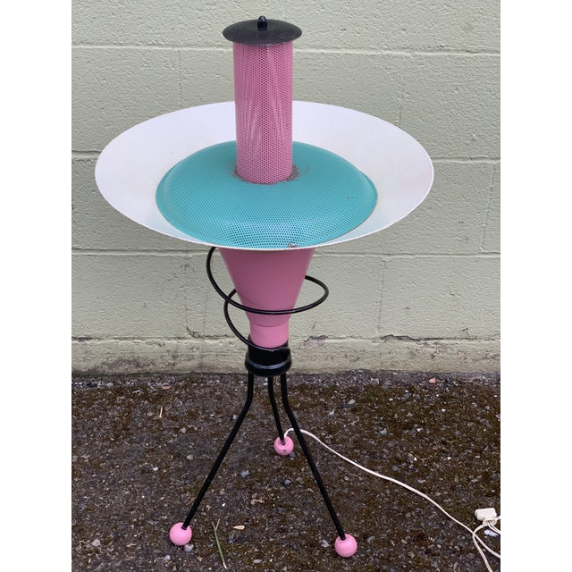 Space Age Memphis Style White Blue and Pink Lamp by Richard Gos For Sale - Image 4 of 4
