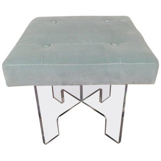 Late 20th Century Vintage Square Lucite Bench For Sale