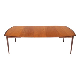 Danish Modern Square Two-Tone Teak Dining Table With 3 Leaves For Sale