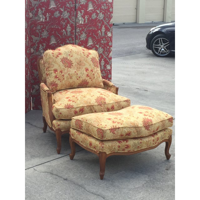 2010s French Style Traditional Chair and Ottoman For Sale - Image 5 of 6