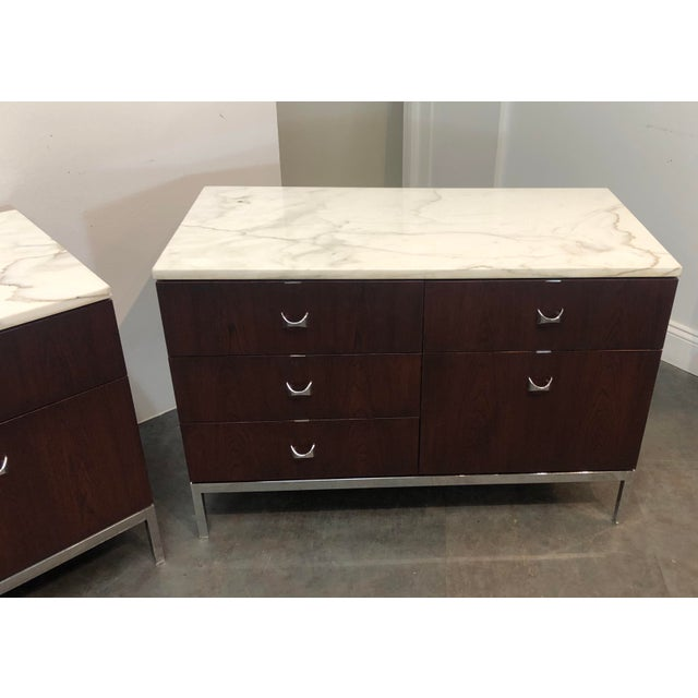 1960s Mid-Century Modern Florence Knoll Rosewood and Marble Credenza Ensemble - 2 Pieces For Sale - Image 10 of 13