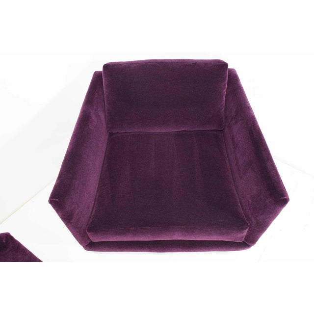 Milo Baughman T-Back Cube Chairs in Maharam Mohair - a Pair For Sale - Image 11 of 13