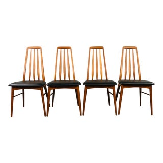 1960s Niels Koefoed Teak and Black Leather Dining Chairs - Set of 4 For Sale