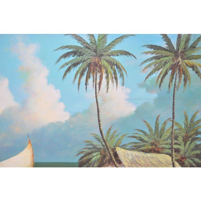 Vintage Island Oil Painting by Balikian - Image 4 of 8