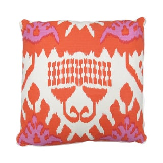 "Oomph Pink and Orange ""Kazak"" Linen 22""x22"" Pillow For Sale"