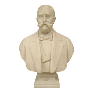 Victorian White Marble Gentleman Bust For Sale