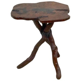 Artisan Root Table With Leather Detail For Sale