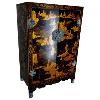 20th Century Black Lacquered Cabinet With Enameled Pulls For Sale