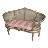Image of 1920's Vintage Louis XVI Cane Back Gilt Settee For Sale