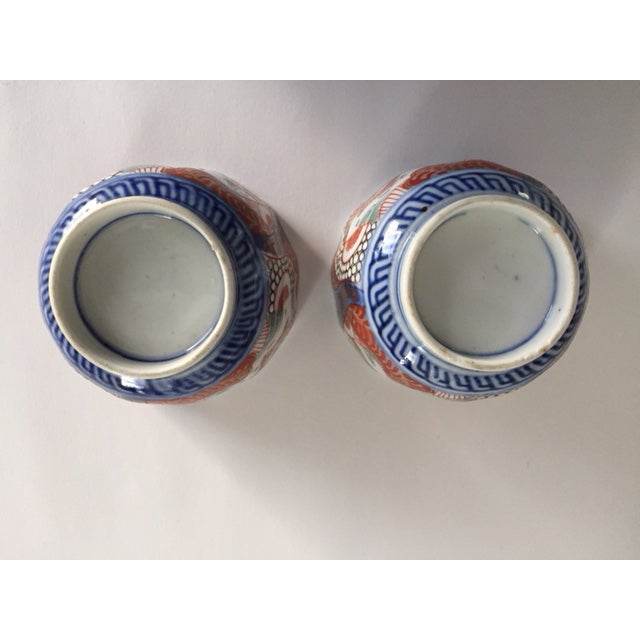 Mid 19th Century Antique Japanese Imari Porcelain Colored Tea Cups - a Pair For Sale - Image 5 of 7