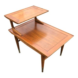 Danish Modern Lane Step Up 2 Tiered Side Table For Sale
