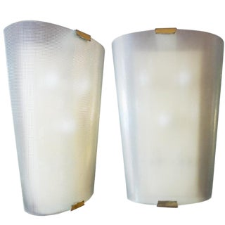 Pair of Large Textured Mid-Century Glass Wall Sconces, Italy Circa 1950 For Sale
