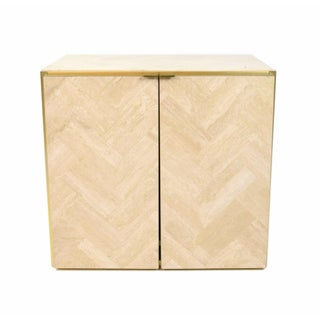 1980s Italian Ello Marble Travertine and Brass Cabinet End Table Preview