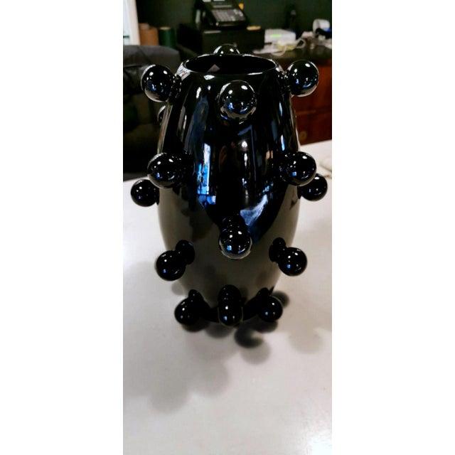 Black Polished Handmade Ceramic Sculpture Vase For Sale - Image 4 of 13