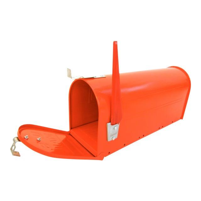 Vintage Industrial Fire Orange Metal Mailbox For Sale