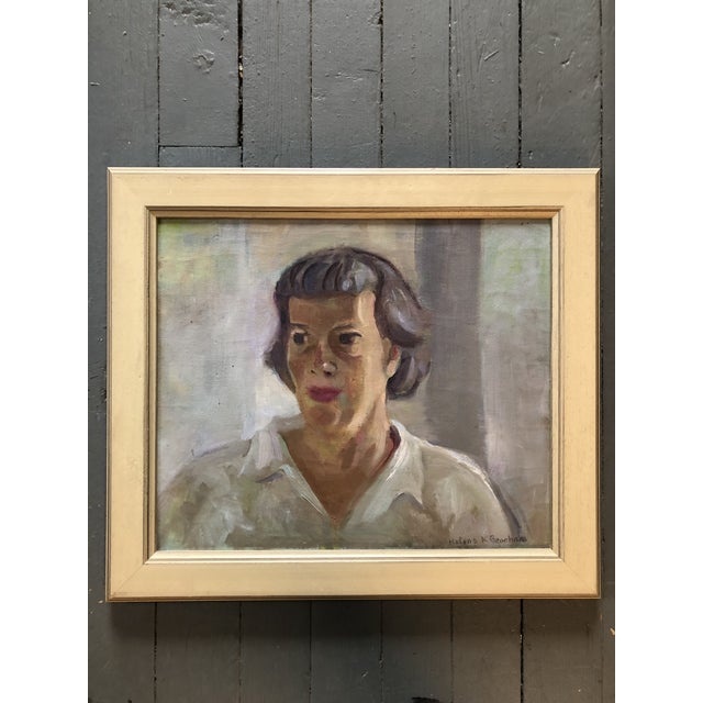1970s Original Vintage Impressionist Female Portrait Painting by Helena Beecham For Sale - Image 5 of 5