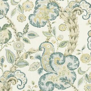 Scalamandre Cumbria Hand Block Print Fabric in Aquamarine For Sale