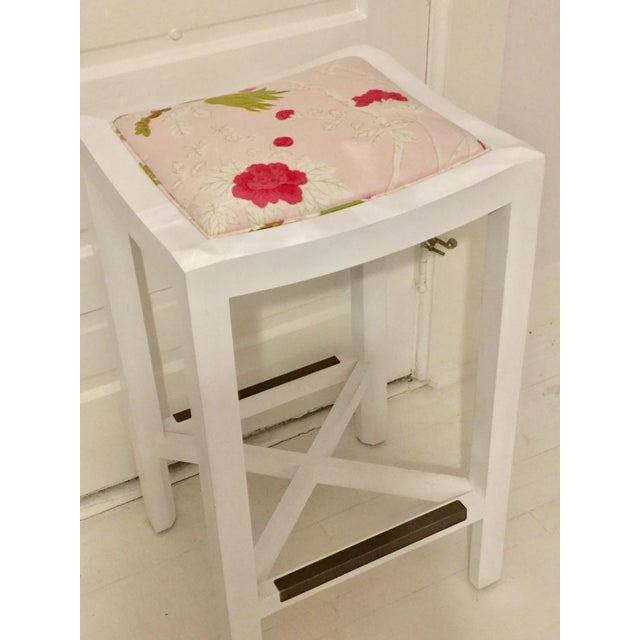 Lee Industries backless Bar Stool. White on Maple finish. Custom Upholstered in a Bob Collins pink floral fabric. Fits...