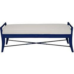Coastal Malacca Bench - Navy Blue For Sale - Image 3 of 3