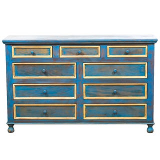 Reclaimed Peroba Rosa Wood Distressed Blue Chest of Drawers/Dresser