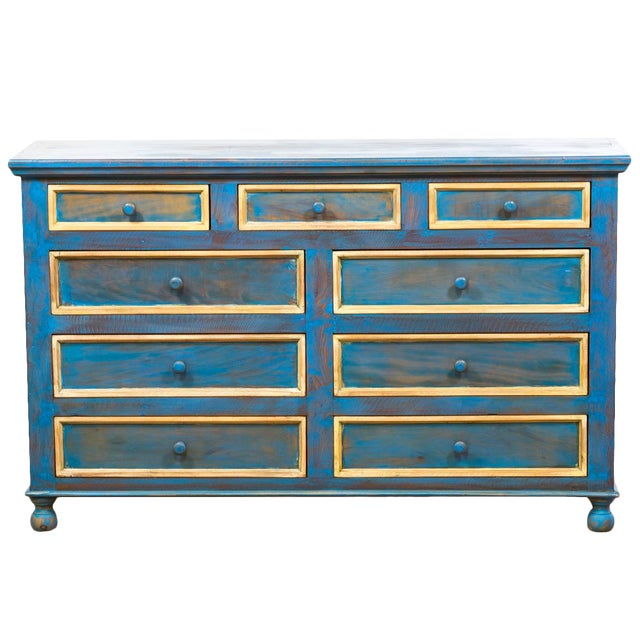 Reclaimed Peroba Rosa Wood Distressed Blue Chest of Drawers/Dresser - Image 1 of 8