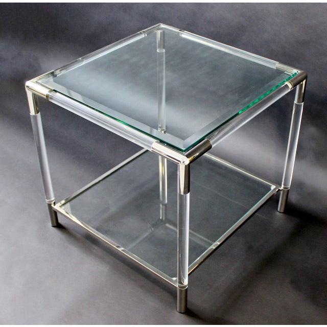 Mid-Century Modern Mid-Century Modern Charles Hollis Jones Era Chrome Lucite Glass Coffee Table For Sale - Image 3 of 9