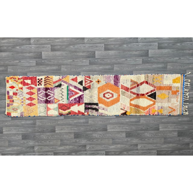 Authentic Moroccan vintage runner rug This Moroccan vintage rug was made by raw virgin wool, composed of multiple Berber...