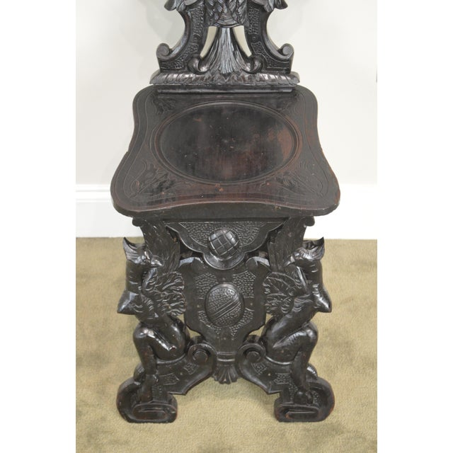 Italian Renaissance Antique Phoenix Carved Walnut Hall Chair For Sale - Image 12 of 13