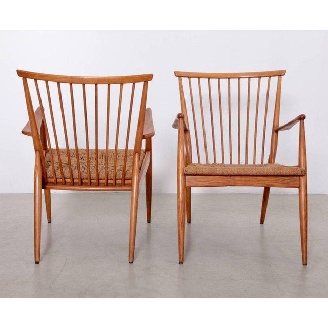 Pair of German Studio Lounge Chairs in Ash and Papercord For Sale - Image 4 of 8