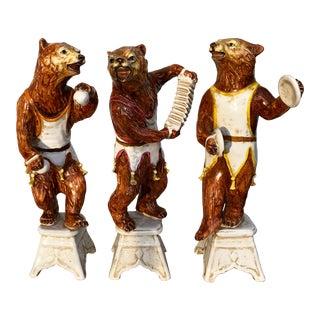 Italian Pottery Bear Musicians- Set of Three For Sale