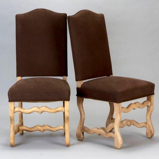 Tall and stately set of 6 Os Du Mouton dining chairs with bleached oak frames and newly upholstered seats and backs in a...