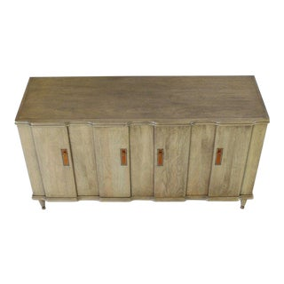1960s Mid-Century Modern Horn Tone Cerused Finished Sideboard Credenza For Sale