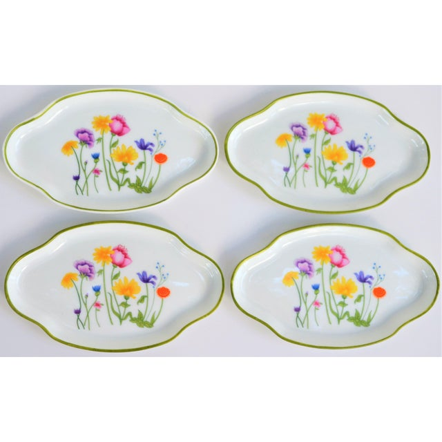 French Floral Vintage and French Limoges Small Plates - Set of 4 For Sale - Image 3 of 7