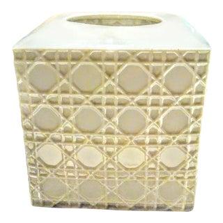 White Ceramic Basket Weave Palm Beach Regency Tissue Box Cover Holder For Sale