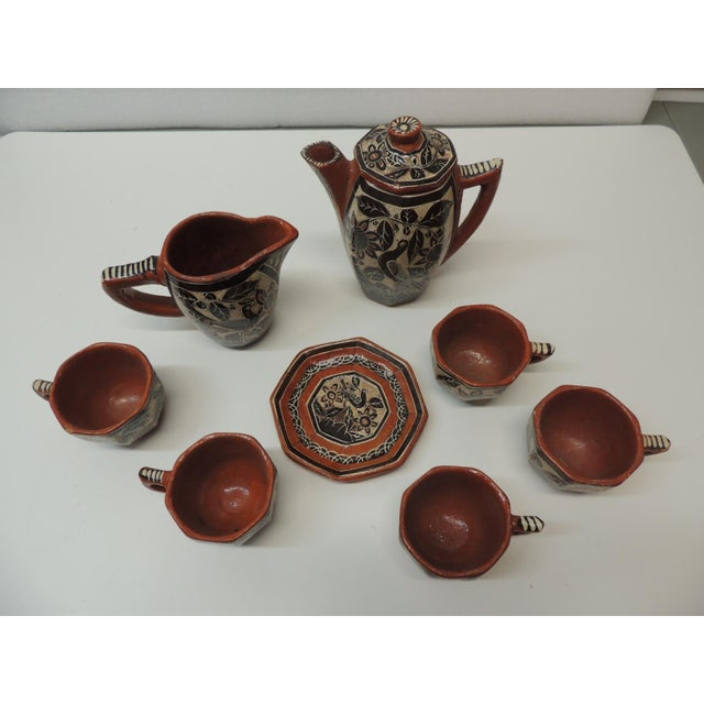 Vintage Brown and Orange Talavera Mexican Coffee Set Orange and brown designs depicting flowers and birds. Set consists of...