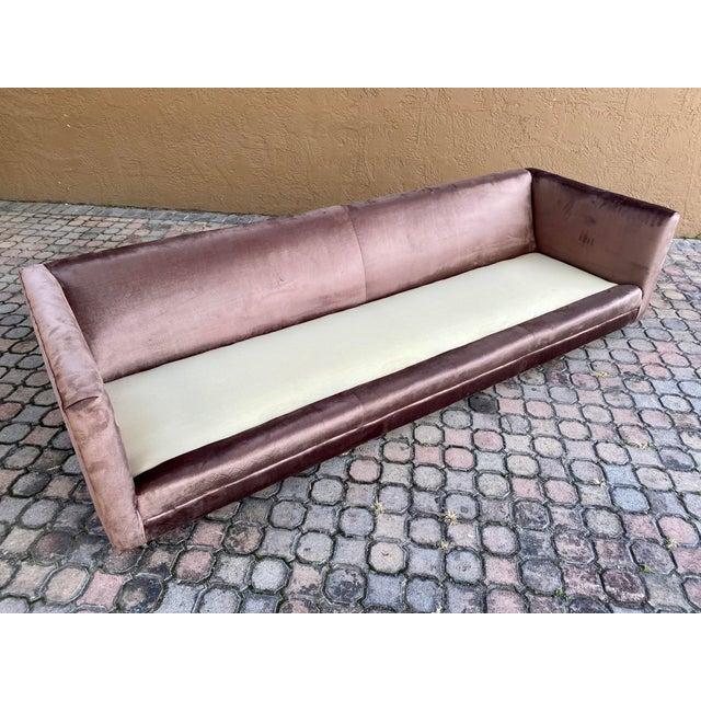 Restored Selig Tuxedo Sofa in a Velvet Brown For Sale - Image 11 of 12