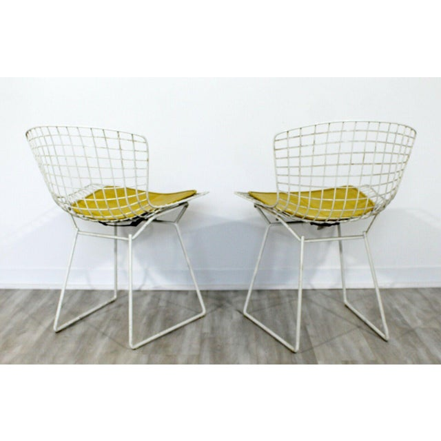 Contemporary Modern Harry Bertoia for Knoll Set 5 Side Dining Chairs 1980 Yellow For Sale - Image 10 of 11