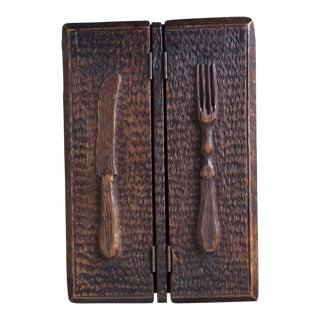Antique English Oak Cutlery Box For Sale