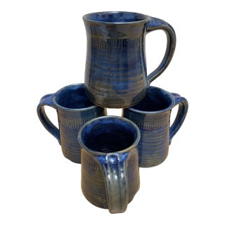 Rustic Earthy Set of Four Pottery Mugs For Sale